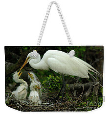 Majestic Great White Egret Family Weekender Tote Bag by Bob Christopher