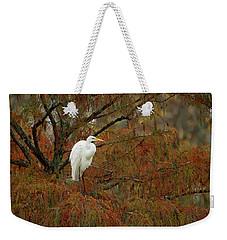 Egret In Autumn Weekender Tote Bag