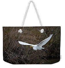 Weekender Tote Bag featuring the photograph Egret In Flight by George Randy Bass