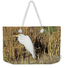 Egret In Grass Weekender Tote Bag