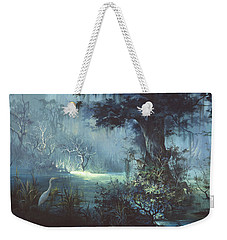 Weekender Tote Bag featuring the painting Egret In The Shadows by Michael Humphries
