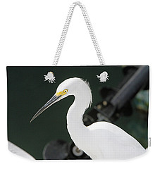 Weekender Tote Bag featuring the pyrography Egret On The Pier by Shoal Hollingsworth