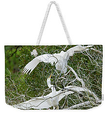 Weekender Tote Bag featuring the photograph Egret Rumble by George Randy Bass