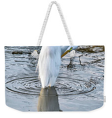 Egret Standing In A Stream Preening Weekender Tote Bag