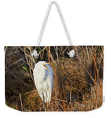 Weekender Tote Bag featuring the photograph Egret With Something To Say by George Randy Bass
