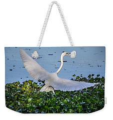 Egret With Wings Spread Weekender Tote Bag