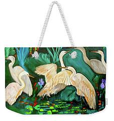 Egrets On Lotus Pond Weekender Tote Bag by Jenny Lee