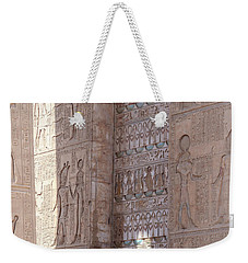 Weekender Tote Bag featuring the photograph Egyptian Hieroglyphs by Silvia Bruno