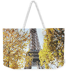 Weekender Tote Bag featuring the photograph Eiffel Tower Amidst The Autumn Foliage by Ivy Ho