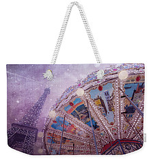Weekender Tote Bag featuring the photograph Eiffel Tower And Carousel by Clare Bambers