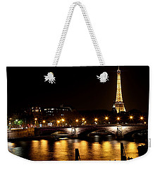 Weekender Tote Bag featuring the photograph Eiffel Tower At Night 1 by Andrew Fare
