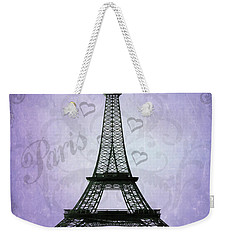 Eiffel Tower Collage Purple Weekender Tote Bag by Jim And Emily Bush