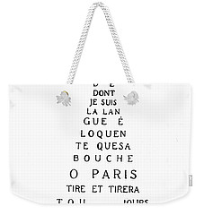 Eiffel Tower Weekender Tote Bag by Guillaume Apollinaire