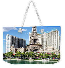Eiffel Tower Paris Casino In Front Of The Bellagio Fountains Weekender Tote Bag by Aloha Art