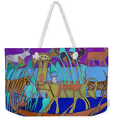 Weekender Tote Bag featuring the painting Eight Holy Cows by Denise Weaver Ross