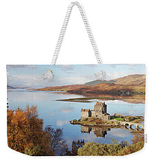 Eilean Donan Castle Panorama In Autumn Weekender Tote Bag