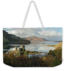 Weekender Tote Bag featuring the photograph Eilean Donan Panorama - Autumn by Grant Glendinning
