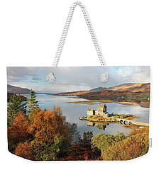 Weekender Tote Bag featuring the photograph Eilean Donan Reflection In Autumn by Grant Glendinning