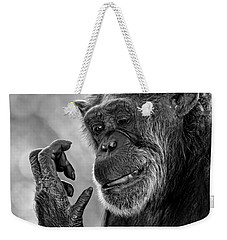 Elderly Chimp Studying Her Hand Weekender Tote Bag