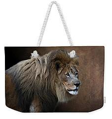 Weekender Tote Bag featuring the photograph Elderly Gentleman Lion by Debi Dalio