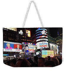 Weekender Tote Bag featuring the photograph Election Night In Times Square 2016 by Melinda Saminski