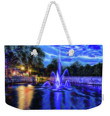 Weekender Tote Bag featuring the photograph Electric Fountain  by Scott Carruthers