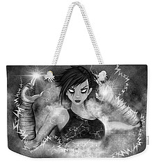Electric Glitch - Black And White Fantasy Art Weekender Tote Bag