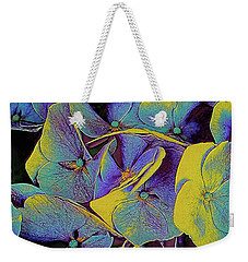 Weekender Tote Bag featuring the mixed media Electric Hydrangea by Susan Maxwell Schmidt
