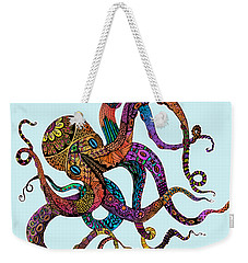 Electric Octopus - Customizable Background Weekender Tote Bag by Tammy Wetzel