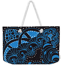 Weekender Tote Bag featuring the drawing Electric Rocket Launch by Jan Steinle