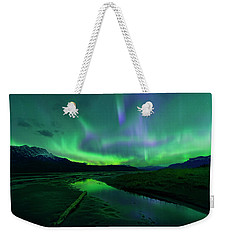 Weekender Tote Bag featuring the photograph Electric Skies Over Jasper National Park by Dan Jurak