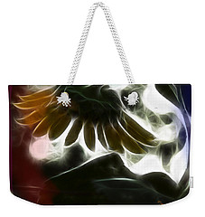 Weekender Tote Bag featuring the photograph Electric Sunflower by EricaMaxine  Price