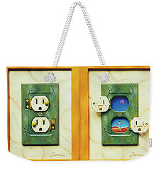 Electric View Miniature Shown Closed And Open Weekender Tote Bag