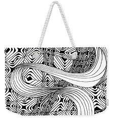 Weekender Tote Bag featuring the drawing Elegant Disturbance by Jan Steinle