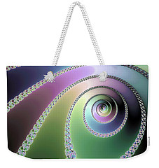 Weekender Tote Bag featuring the digital art Elegant Fractal Spirals Green Purple Blue by Matthias Hauser