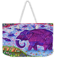 Elephant And Mice Weekender Tote Bag by Jane Tattersfield