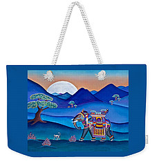Elephant And Monkey Stroll Weekender Tote Bag by Lori Miller