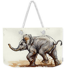 Elephant Baby At Play Weekender Tote Bag by Margaret Stockdale