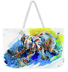Weekender Tote Bag featuring the painting Elephant Calf Playing With Butterfly by Zaira Dzhaubaeva