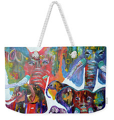 Weekender Tote Bag featuring the painting Elephant Family by Claire Bull