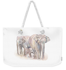 Elephant Family Weekender Tote Bag by Elizabeth Lock