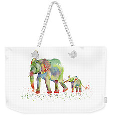 Elephant Family Watercolor  Weekender Tote Bag