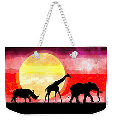 Elephant Giraffe Rhinoceros Weekender Tote Bag
