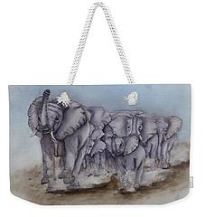 Elephant Herd Gallop Weekender Tote Bag