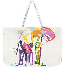 Elephant In Color Ecru Weekender Tote Bag