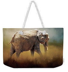 Weekender Tote Bag featuring the photograph Elephant In The Mist by David and Carol Kelly