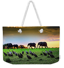 Weekender Tote Bag featuring the photograph Elephants And Vultures  by Janis Knight