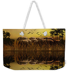 Elephants At Sunset Weekender Tote Bag
