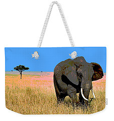Weekender Tote Bag featuring the mixed media Elephants by Charles Shoup