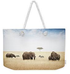 Elephants Grazing In Kenya Africa Weekender Tote Bag